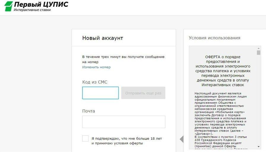 Регистрация в ЦУПИС 2